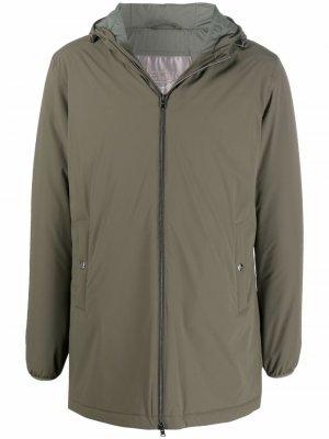 Куртка на молнии с капюшоном Herno. Цвет: зеленый