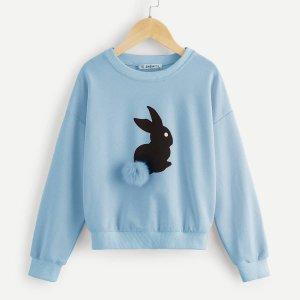 Пуловер с принтом и помпоном для девочек SHEIN. Цвет: синий пастельный