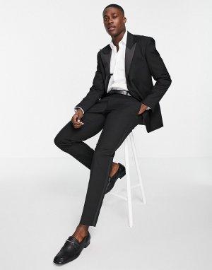 Черные брюки узкого кроя под смокинг -Черный цвет ASOS DESIGN