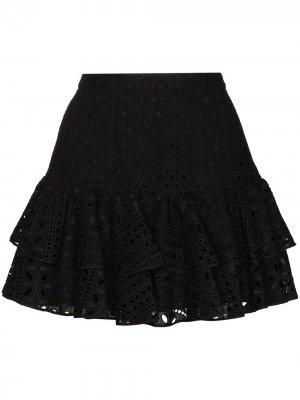 Мини-юбка Natalie с английской вышивкой Charo Ruiz Ibiza. Цвет: черный