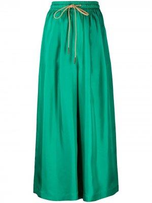 Укороченные брюки широкого кроя Alysi. Цвет: зеленый