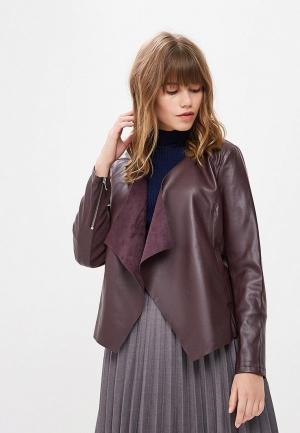Куртка кожаная Dorothy Perkins. Цвет: бордовый