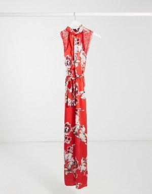 Красный комбинезон с широкими штанинами и цветочным принтом -Многоцветный Elvi