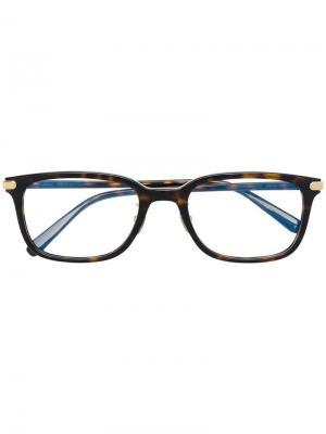 Очки в квадратной оправе Brioni. Цвет: коричневый