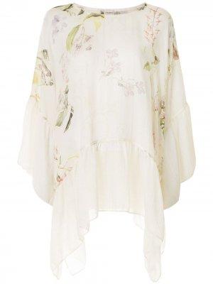 Блузка асимметричного кроя с драпировкой Colombo. Цвет: белый