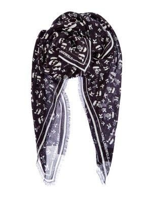 Платок из шелка и модала с принтом K/Ikonik KARL LAGERFELD. Цвет: черный