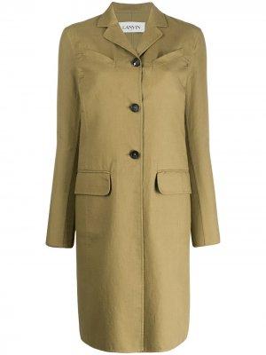 Однобортное пальто средней длины LANVIN. Цвет: зеленый