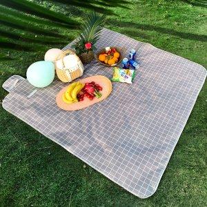 1шт коврик для пикника в клетку SHEIN. Цвет: серый