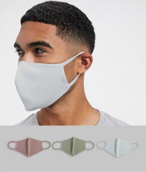 Набор из 3 масок для лица лавандового и серого цвета из органического хлопка ASOS DESIGN-Многоцветный