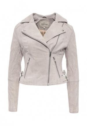 Куртка кожаная River Island. Цвет: серый