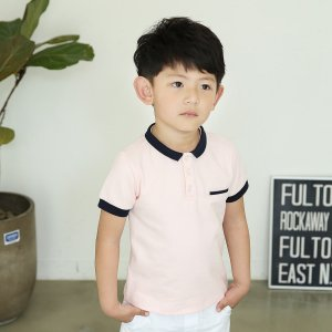 Для мальчиков Рубашка-поло с контрастной отделкой SHEIN. Цвет: нежний розовый