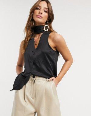 Черная блузка с шарфом без рукавов Closet-Черный Closet London