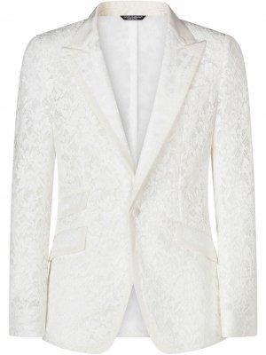Кружевной пиджак Dolce & Gabbana. Цвет: белый