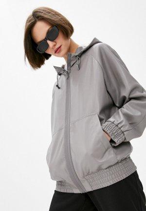 Куртка кожаная DKNY. Цвет: серый