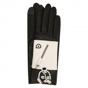 Кожаные перчатки Agnelle. Цвет: чёрно-белый
