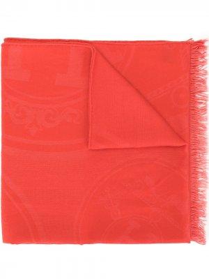 Палантин с жаккардовым логотипом Hermès. Цвет: оранжевый