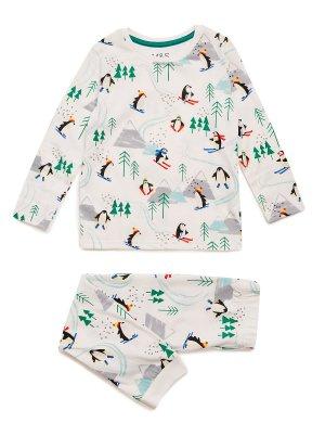 Хлопковая пижама с принтом Пингвины лыжники Marks & Spencer. Цвет: мульти