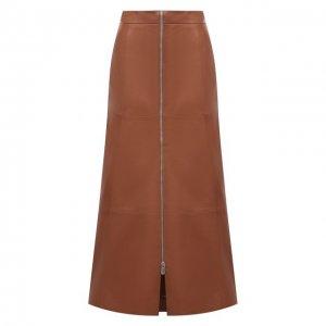 Кожаная юбка DROMe. Цвет: коричневый