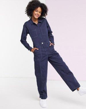 Синий джинсовый комбинезон в стиле милитари Tommy Jeans