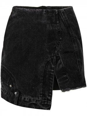 Джинсовая юбка асимметричного кроя Ground Zero. Цвет: черный