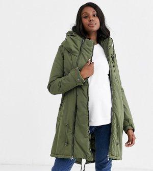 Дутое пальто хаки 2 в 1 со вставкой для беременных Mamalicious-Зеленый Mama.licious