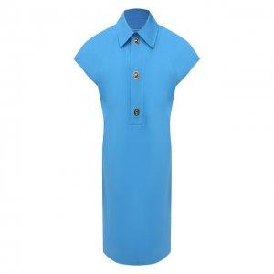 Хлопковое платье Bottega Veneta. Цвет: синий