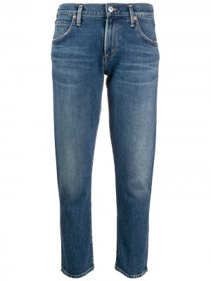 Укороченные джинсы кроя слим Citizens of Humanity. Цвет: синий