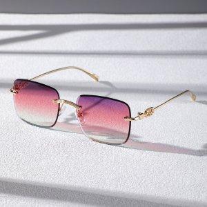 Мужские солнцезащитные очки без оправы в квадратной оправе SHEIN. Цвет: многоцветный
