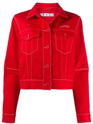 Джинсовая куртка с логотипом Off-White. Цвет: красный