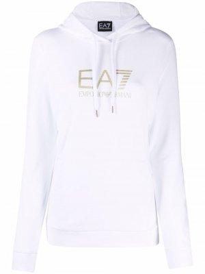 Gold embossed logo hoodie Ea7 Emporio Armani. Цвет: белый