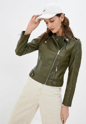 Куртка кожаная Vero Moda. Цвет: хаки
