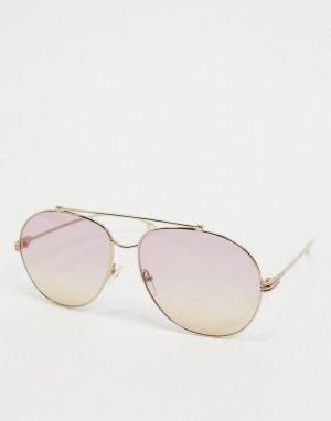 Золотистые очки-авиаторы с фиолетовыми стеклами Etro-Золотистый ETRO