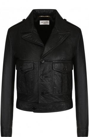 Укороченная кожаная куртка на пуговицах Saint Laurent. Цвет: чёрный