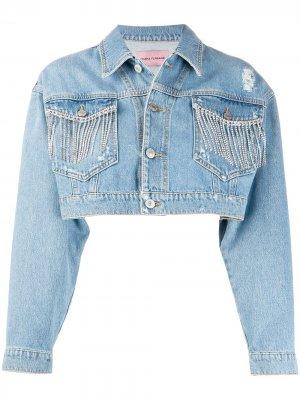 Укороченная джинсовая куртка с бахромой Chiara Ferragni. Цвет: синий