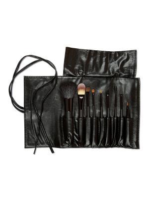 Набор кистей для макияжа 9шт  в чехле Zinger. Цвет: черный