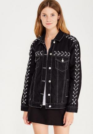 Куртка джинсовая Topshop TO029EWWLG45. Цвет: черный