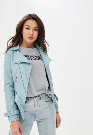 Куртка кожаная Izabella. Цвет: голубой