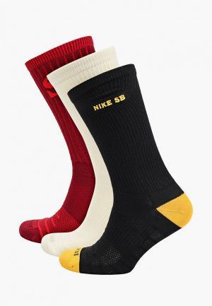 Носки 3 пары Nike U NK SB EVERYDAY MAX LTWT CREW. Цвет: разноцветный