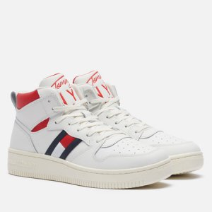 Женские кроссовки Leather High-Top Basketball Trainers Tommy Jeans. Цвет: белый