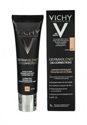 Тональное средство Vichy DERMABLEND 3D с высоким покрытием для жирной кожи, склонной к появлению акне, тон 35 30 мл. Цвет: бежевый