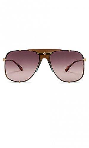 Солнцезащитные очки oversized embellished pilot Gucci. Цвет: коричневый