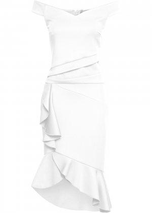 Платье с открытыми плечами bonprix. Цвет: белый