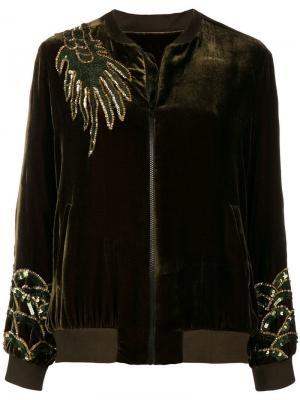Dragon embellished bomber jacket P.A.R.O.S.H.. Цвет: зеленый