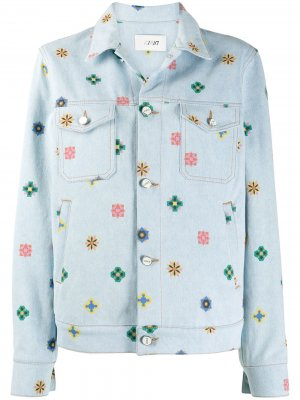 Джинсовая куртка с цветочным принтом Kirin. Цвет: синий