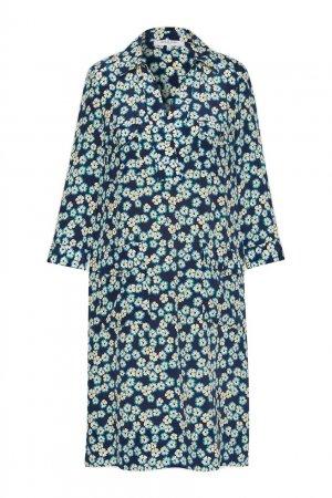 Чернильное платье с цветочным принтом Gerard Darel. Цвет: синий