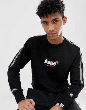 Черный свободный свитшот с отделкой лентой AAPE By A Bathing Ape. Цвет: черный