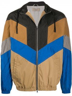 Куртка в стиле колор-блок Maison Flaneur. Цвет: коричневый