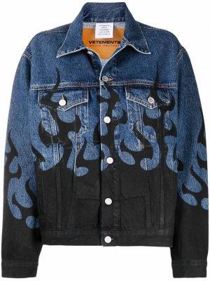 Джинсовая куртка с принтом VETEMENTS. Цвет: синий