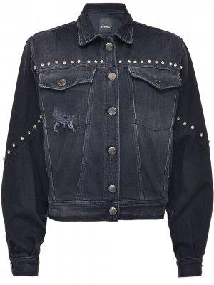 Джинсовая куртка с прорезями и кристаллами Pinko. Цвет: черный