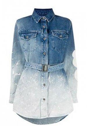 Платье OFF-WHITE. Цвет: голубой